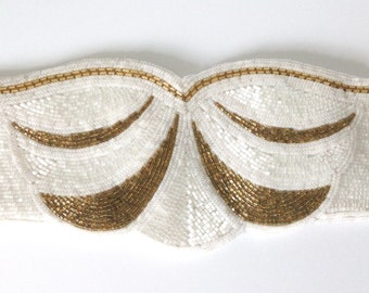 Nina Ricci Beaded Belt Gold White Formal Evening Size Small