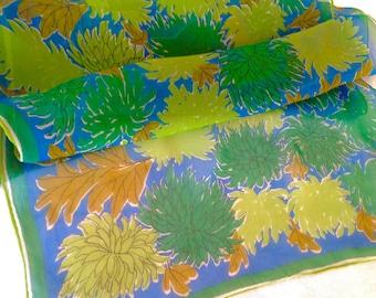 Vera Silk Chiffon Scarf Lime Green Brown Blue 44 Long