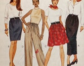 Uncut, McCall's 8284, Vintage Sewing Pattern, Misses' Pull-On Skirt in 2 Lengths and Pull-On Pants, Misses' Size Medium, 12 & 14