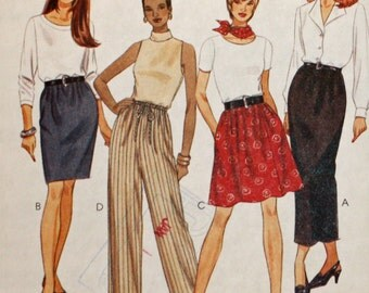 Uncut, Vintage Sewing Pattern, McCall's 8284, Misses' Pull-On Skirt in 2 Lengths and Pull-On Pants, Misses' Size Medium, 12 & 14