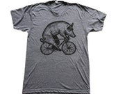pig on a bicycle / unisex american apparel t-shirt