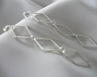 Diamond Dangle Drop Earrings AB Rhinestone Post Stud 3 inch Diamond Trios