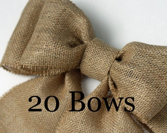Burlap Pew Bows (20) Natural Burlap Large Double Bow Set Rustic Country Chic Handmade Wedding Decor Chair Bow