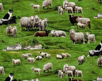 "Farm Animals by Elizabeth's Studio, Sheep in Grassy Green Pasture- 44"" Wide - Machine Washable"