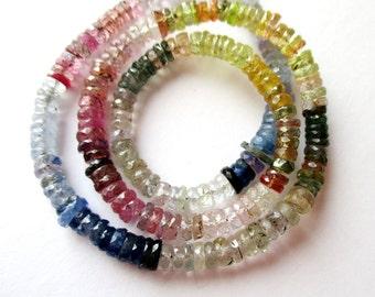 35% OFF Natural Multi Bi- Color Sapphire heishi rondelle