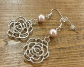 Simple Rose and Champagne Pearl Earrings