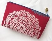 Upcycled Obi Zipper Pouch / Cosmetic Pouch Made From Vintage Obi - Mandala