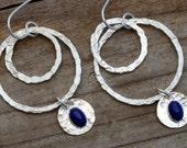 Lapis lazuli sterling silver dangle hoop earrings, contemporary jewelry, artisan hammered hoops, unusual genuine navy blue natural stone