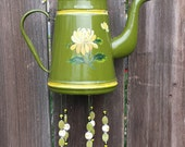 Upcycled Enamelware--Antique teapot given new life as a Wind Chime