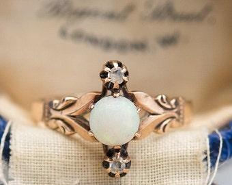 Edwardian 10K Gold Opal & Diamond Ring
