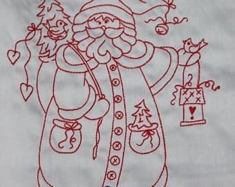 Redwork Santa Machine Embroidered Quilt Blocks Set A