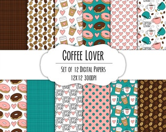 Coffee Lover Hand Drawn Digital Paper - Set of 12 - Coffee Mugs, Latte, Hearts, Donuts - Instant Download - Item #8283
