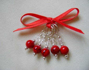 Turquoise (red) Stitch Markers for Knitting or Crochet