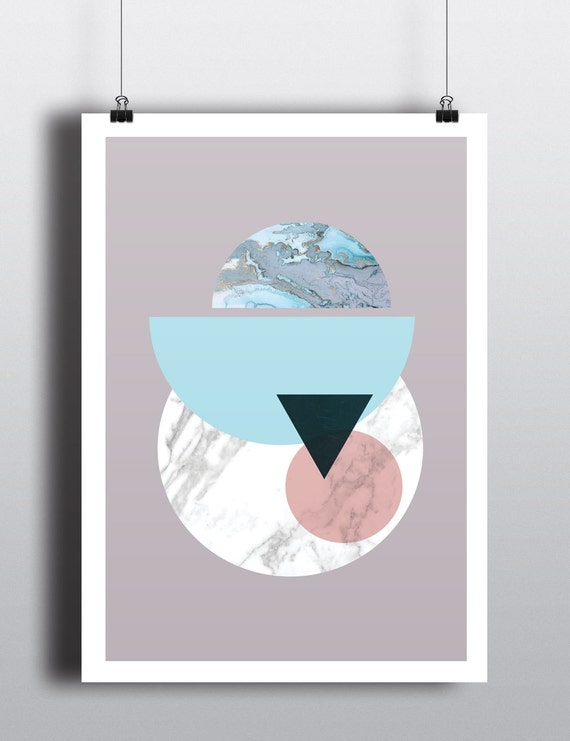 abstract SOLAR SYSTEM // Mid Century Poster, 18x24, minimalist art print, geometric print, Pastel colors, abstract, art, Triangles,  marble,