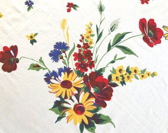 Vintage Wilendur Tablecloth Multicolor Flowers Floral Bouquets Wilendure Dining Room Table Cloth