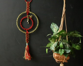 Bohemian Macrame Wall Hanging With Bells Green and Red Vintage 70s From Nowvintage on Etsy
