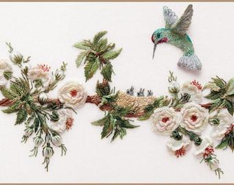 English Rose &Hummingbirds Brazilian embroidery kit #1606 - EdMar threads/choose fabric color