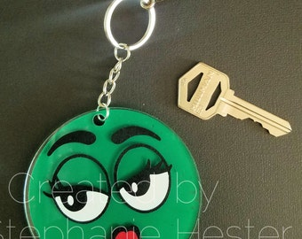 """Green and Pink goofy face 3"""" keychain"""