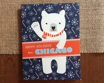 Polar Chicago Folded Holiday Cards, Box of 10 - Chicago Christmas Cards - Happy Holidays from Chicago - OC1174-CHI-BX