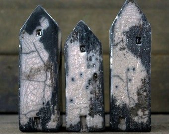 Tiny and Tall Raku Houses - Set of 3