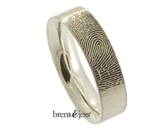 Personalized Fingerprint Ring,  Fingerprint wedding band , Handmade in the USA with Your Actual Fingerprint
