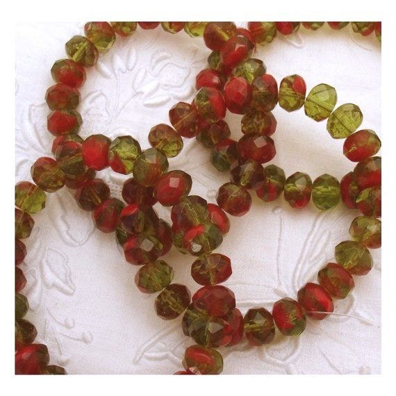 Faceted Bi-Color Czech Glass 8mm Rondelles Green Red - 25