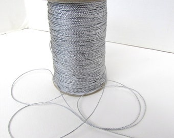 Vintage Trim Metallic Silver Cord Cording Thin Beading Sewing Japan rib0243 (5 yards)