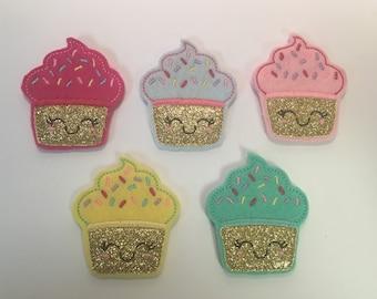 Birthday Cupcake Pink Glitter Sprinkle Felt Applique