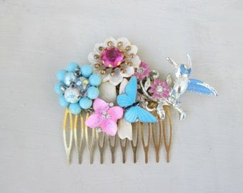 Haircomb Vintage Collage Blue Pink Hair Comb Butterfly Humming Bird
