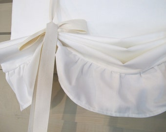 Off White Ruffled Canvas 48 Inch Long Tie Up Shade Custom Made to Order