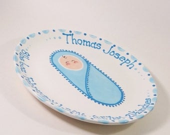 Bundle of Joy Baby Plate - Hand Painted Ceramic Birth Plate - Cute Baby Plate - Personalized New Baby Plate - Nursery Decor - Baby Keepsake