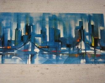 Blue SKYLINE Print by Ozz Franca ~ 1960s Modern