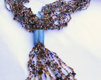 Stunning & very unique all-glass vintage multi-strand artisan necklace