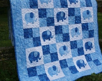 Parade of Elephants Blue Baby Quilt