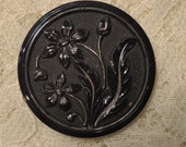 Antique Black Glass Button - Extra Large 1 3/4 inches