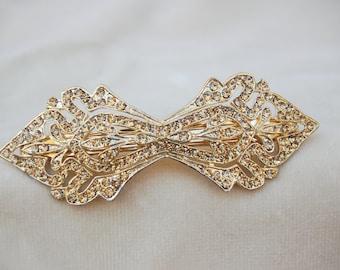 Art Deco Gold Swarovski Crystal Barrette Hair Clip / Bridal Hair Clip / Deco Inspired Hair Clip / Art Deco Barrette