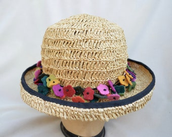 Straw Hat / Woven Natural Straw Small Brim Sun Hat With Pin / Packable Straw Hat / Sun Hat / Gardening Hat
