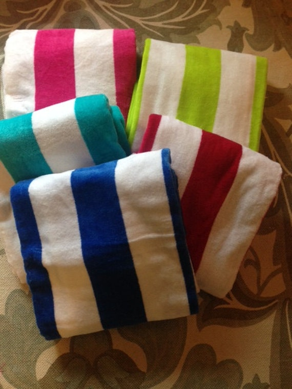Embroidered Personalized Monogrammed Bright  Striped Beach Towel see all pics !