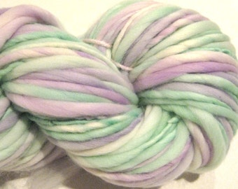 Super Bulky Handspun Yarn White Washed Lilacs 126 yards hand dyed merino wool purple lavender green knitting supplies crochet supplies