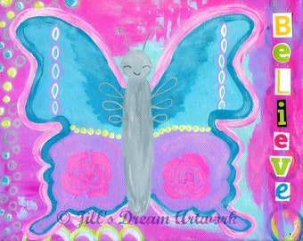 Butterfly Painting Print for Girl's Room, Pink, Light Blue, Lavender, Believe, 8x10 Print Baby Girl, Toddler Girl Decor
