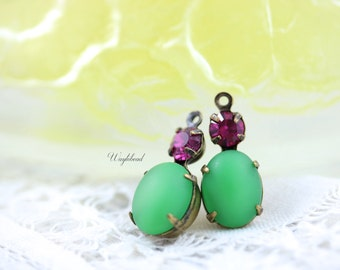 Glass Dangles Earring Component Vintage Oval Set Stones 1 Ring 18x8mm Antique Brass Prong Settings Frosted Green & Fuchsia - 2