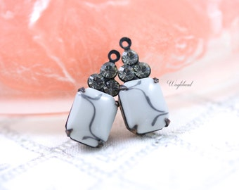 Set Stones Vintage Octagon Stone Frequency Graph Design and Swarovski Crystals 1 Ring Brass Settings 19x8mm Grey & Black Diamond - 2