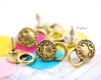 24K Matte Gold Antique Rococo Style Earring Posts with Loop Plated Ear Studs Earring Finding Round - 2