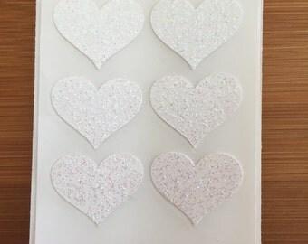 envelope seals - small white glitter heart stickers