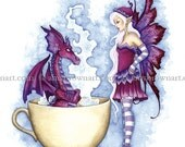 Dragon and Fairy coffee tea print Get Out Of My Hot Tub by Amy Brown