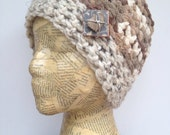 Crocheted Beanie Hat in Oatmeal, Varigated Cream with Removable Rock, Wood, and Aluminum Wire Pin