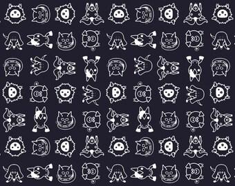 Organic Quilting Fabric, Farm Animals Fabric, Mod, Modern, Cotton Sateen, Midnight, Navy Blue, Baby Boy, Custom Colors, Exclusive Design