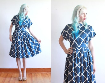 "1960s silk dress by Pauline Trigère / 60s party dress / blue & white geometric pattern party dress / bust 32"" waist 24"" xxs - xs"