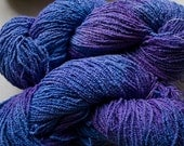 Organic Cotton Boucle, hand painted yarn,  225 yds - Sea
