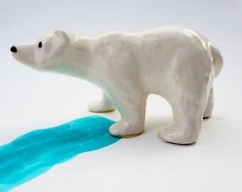 Vintage Miniature Polar Bear Figurine -  Hand Painted Collectible Polar Bear -  Hagen Renaker Made in USA